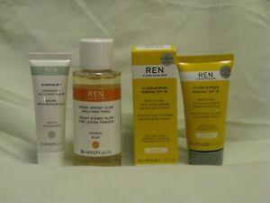 REN Travel Trio - Clean Screen SPF 30, AHA Tonic & Overnight Recovery Balm NEW