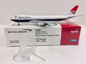 "Herpa Wings British Airways Boeing 747-100 ""Sebastian Cabot"" 1:500 G-AWNN 534857"