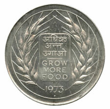 """1973 India Silver Proof 20 Rupees """"Grow More Food"""""""
