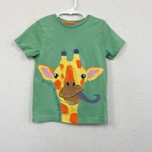 Mini Boden Giraffe Applique Green Short Sleeve 100% Cotton Tee Kids size 5-6