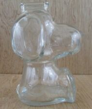 "Vintage Peanuts Snoopy Clear Glass Coin Piggy Bank 6"" Tall"