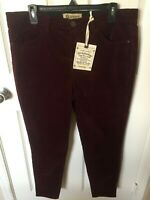 Womens Democracy Ab Technology High Rise Ankle Skimmer Maroon Corduroy Jeans 14