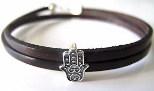 hamsa evil eye good luck sterling silver leather bracelet protection amulet new