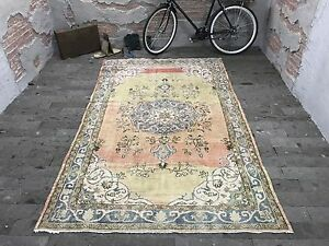 FREE SHIPPING! Oushak Rug 5.4x8.7ft Vintage Faded Yellow Rug Distressed Turkish