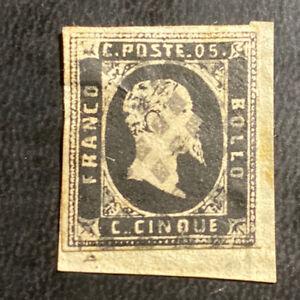 Used Italian States Sardinia 5 Cents Gray Black Stamp Sc#1 King Victor Emmanuel