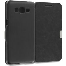 For Samsung Galaxy Grand Prime LTE Wallet Slim Case Magnetic Flip Cover Bla