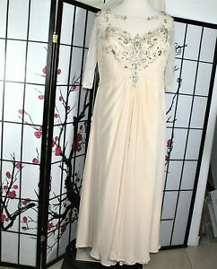 BEADED COCKTAIL  DRESS BEIGE MOTHER OF BRIDE PLUS 2X