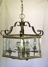 Brass Chandelier with cut, beveled glass. Vintage.