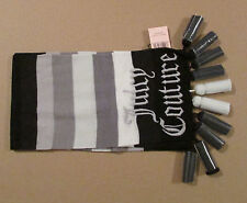 Juicy Couture Knit Scarf Stripes Tassels Gray Embroider NEW