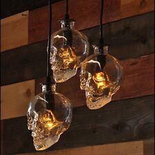 Retro Human Skull Clear Glass Pendant Light Fixture Demon Skull Ghost Chandelier