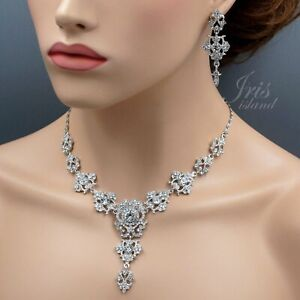 Gorgeous Rhodium Plated Clear Crystal Necklace Earrings Wedding Jewelry Set 6706