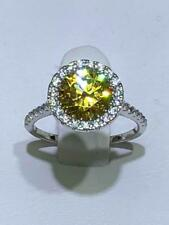 Platinum Sterling Silver Yellow Sapphire 2.00ct Halo Pave Engagement Ring Sz5