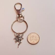 Handmade Guardian Angel Lobster Clasp Keyring with Tibetan Silver Angel Charm