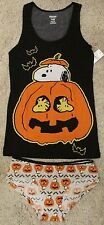 Peanuts Snoopy & Woodstock Halloween Women's 2-Piece Cami & Panty Set Large New