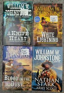 WILLIAM W JOHNSTONE WESTERN BIGGER SIZE PAPERBACK 4 BOOK LOT NOVELS