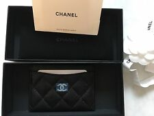 CHANEL Caviar Leather Card Case Cardholder Black NWB