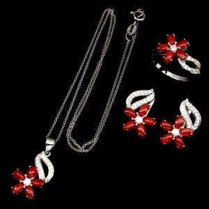 Natural Oval Coral Italy 5x3mm Cz 925 Sterling Silver Ring Earrings Necklace