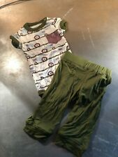 Kickee Pants Bamboo One Piece & Pant Set- Tractor Design- Size: 6-12 Months- NWT