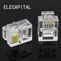 100Pcs 4P4C 4 Pins Contacts RJ10 Telephone Modular Plug Jack, Handset Connector
