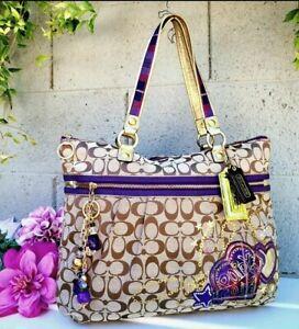 Coach Poppy Tartan Plaid Applique Glam Tote 15882 Khaki/Multicolored $498