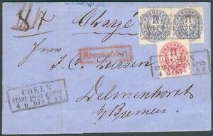 Preußen RecoBrief Coeln Stadt-Post Exped. 1876 Mi.-Nr.16,17 to Delmenhorst RARE
