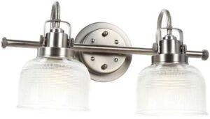 """Progress Lightning P2991-81 DI Archie 17"""" 2-Light Antique Nickel Vanity Light"""