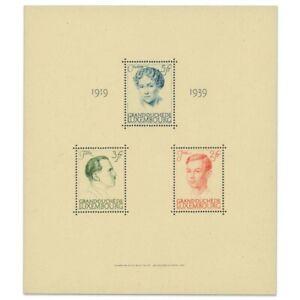 LUXEMBOURG BLOC N°3, ANNIVERSAIRE DE RÈGNE, TIMBRES NEUFS-1939