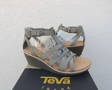 TEVA RARE ENCANTA SAGE LEATHER GLADIATOR WEDGE SANDALS/ HEELS, US 7/ EUR 38 ~NEW