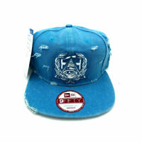New Era x Secret Society Distressed Light Blue Denim Eye Logo Snapback Hat NWT