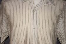 Alfani Short Sleeve Shirt Mens XL Button Front Beige w Gray Stripe