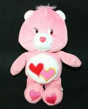 "Plush Stuffed Animal CARE BEAR Love A Lot Pink Hearts 8"" 2002 Beans Lovey"