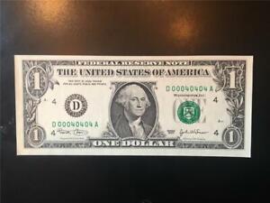 FANCY 4TH DISTRICT BINARY FIVE 0s SN# CHGEM 2003 $1 FRN <<< 00040404  >>>