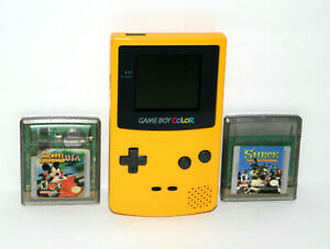 Nintendo GameBoy Color Yellow Handheld System + Games (Excellent Shape!)