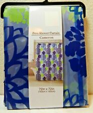 Peva Vinyl Shower Curtain Cameron Blue 72 x 72 Multi-Colored New