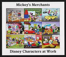 1995 St. Vincent Disney Mickeys Merchants Sc#2247 Sheet of 9 Mnh Vf