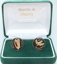 1943 IRELAND cufflinks from OLD IRISH Farthing coins Black Gold