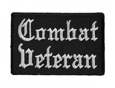 "(LL) COMBAT VETERAN Old English 3"" x 2"" iron on patch (5229) Biker"