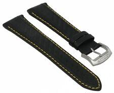 Citizen Uhrenarmband schwarzes Leder gelbe Naht 22mm Eco-Drive Chrono AT0797-01E