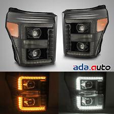 For 2011-2016 F250/F350/F450/F550 DRL/Signal Polished Black Projector Headlights