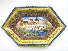 Céramique terre cuite émaillée & peinte, Usine + Pont, Avignon? signée A.M - R.C