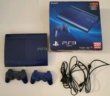 Sony Playstation 3 Super Slim 250gb Console Azurite Blue PS3 System with Box