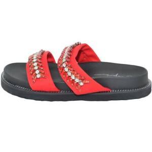 Pantofola donna sandalo rosso con strass tono su tono moda mare incrocio alla g