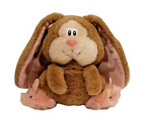 "Vintage 9"" Applause Trudy Stuffed Floppy Ear Bunny 1985 Brown Pink Plush Rabbit"