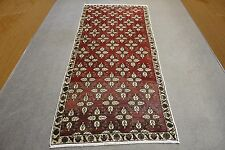 "4'x9'3 "" Turkish Antique Hallway Red Color Cream Flowers Patterned Runner Rug"