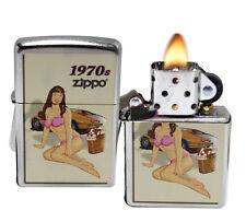 Zippo 207 Classic Pin Up Girl 1970's Street Chrome Windproof Lighter NEW