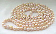"P4729 - 80"" Long 11-12mm natural pink round freshwater pearl necklace"