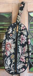 Vintage Ladies Toiletry Makeup Travel Dopp Bag Black Floral Tapestry Mid Century