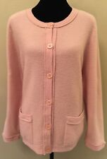 Koret Womens Cardigan Sweater Sz Large Pink Classic Button Down Crew Neck Wool
