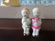 Vintage Bisque Frozen Charlotte Seated Penny Dolls Sitting 2 Girls Dog Japan