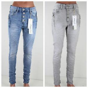 JEWELLY verwaschene Baggy Jeans Denim Skinny Slim Fit Reißverschluss Knopfleiste